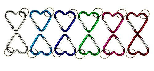 Lot of 12 Carabiners Heart Shaped Aluminum Hook Lock Keychain Key Ring Spring Snap Belt Clip By Spreezie