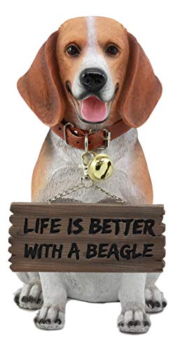 "Ebros Lifelike Realistic Beagle Dog Welcome Greeter Statue 12"" Tall Hound Dog Breed Collectible Decor Figurine with Jingle Collar Greeting Signs"