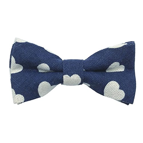 Startby Boys Kids Linen Elastic Band Bow Ties Pre Tied (Hearts, Navy Blue)