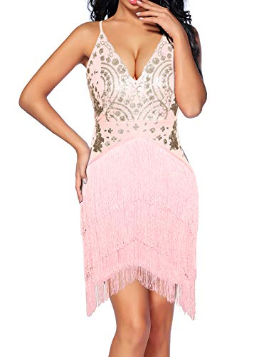Madam Uniq Women's Vintage Dress V Neck Backless Sequined Tassels Dance Club Dresses (M, Pink)
