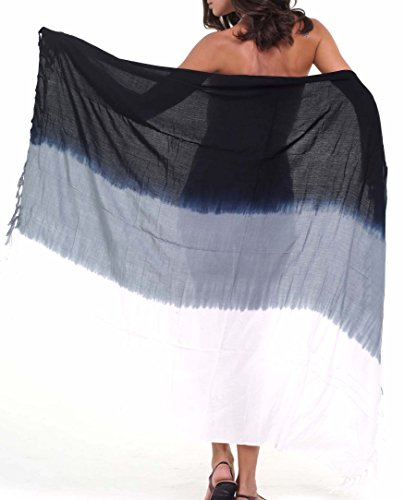 (M&B USA Womens Sarong Pareo Tie Dye Cover Up Wrap Beach Swimsuit Bikini Summer (Black-Gray, One Size))