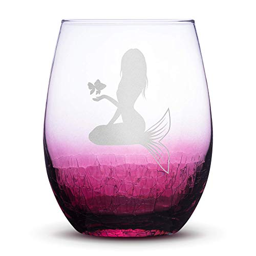 Premium Mermaid #5 Stemless Wine Glass, Crackle Raspberry, Handblown, Holding Fish, Hand Etched Gifts, Sand Carved by Integrity Bottles