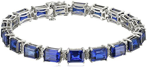 Sterling Silver Created Blue Sapphire Emerald Cut with Diamond Accent Tennis Bracelet, 8'' by Amazon Collection