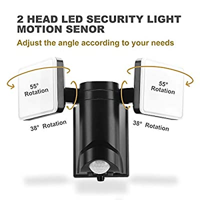 Battery Operated, Twin Head, LED Motion Security Light, 500lumen, Daylight, Easy Installation with L- Bracket, Waterproof, Adjustable Head for entryway, Deck, Patio, Backyard