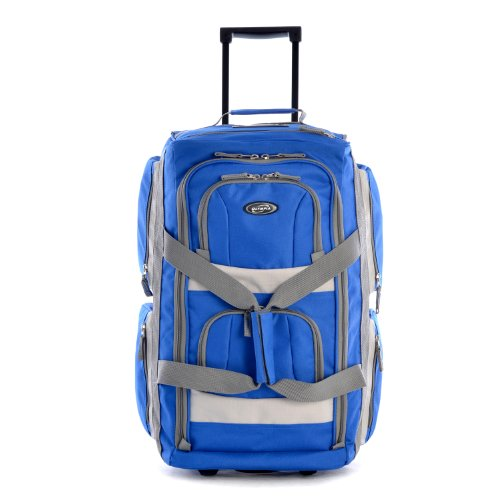 Olympia 8 Pocket Rolling Duffel Bag, Royal Blue