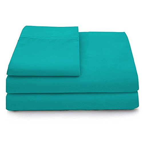 Cosy House Collection Luxury Bamboo Bed Sheet Set - Hypoallergenic Bedding Blend from Natural Bamboo Fiber - Resists Wrinkles - 4 Piece - 1 Fitted Sheet, 1 Flat, 2 Pillowcases - Full, Turquoise