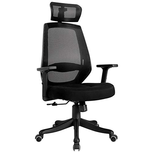 TKEY Ergonomic High Back Mesh Office Chair with Adjustable Armrest Lumbar Support Headrest Recliner Swivel Task Desk Chair Computer Chair Guest Chairs Reception Chairs (Black)