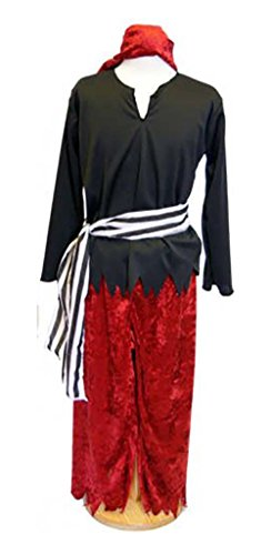 CL COSTUMES World Book Day-Neverland-Pan-Treasure Island Black & Red Pirate Child's Fancy Dress Costume - All Ages (Age (Peter Pan Costume Age 8)