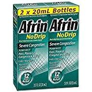 Afrin No Drip Severe Congestion Pump Mist Nasal Spray 12 Hour relief 20 mL Bottle (Pack of 2)