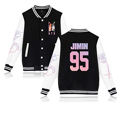 Aopostall Kpop BTS Jimin Baseball Jacket Hoodie Unisex Uniform Love Yourself Sweatshirt Sweater Coat