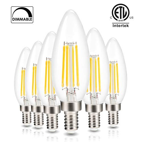 (Led Candelabra Light Bulb Filament Vintage Edison Chandelier Dimmable Bulbs,40 Watt Equivalent,Warm White 2700k,400 Lumen,E12 Base,6 Pack)