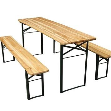 miadomodo set birreria da giardino tavolo con due panche in legno ... - Tavolo Panca Da Giardino