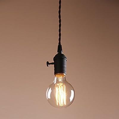 Permo Single Socket 1-light Mini Pendant Braided Textile Cord Vintage Hanging Pendant Light