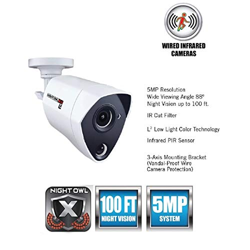 Night Owl Security 1 Pack Extreme HD 5MP Dual Sensor Wired Infrared Camera (White