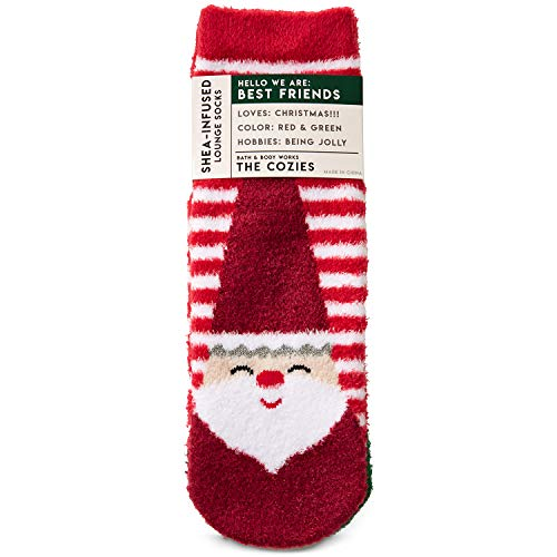 Bath and Body Works BEST FRIENDS SANTA and ELF Shea-Infused Lounge Socks ()