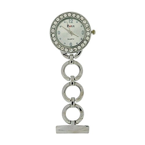 Boxx Glamour Silver Tone Round Open Link Professional Fob Watch BOXX11 (Tone Silver Open Link)