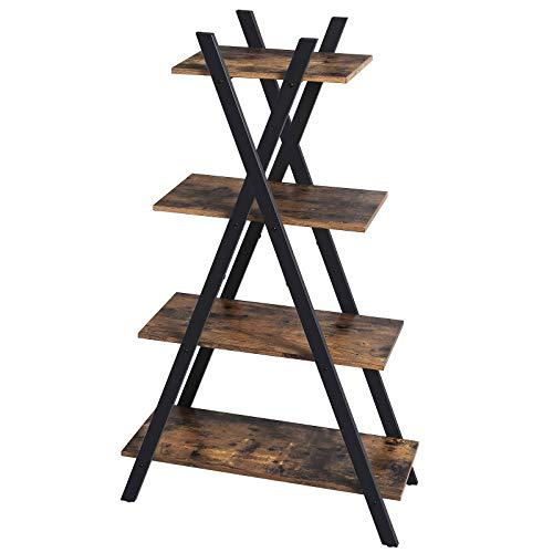 VASAGLE Industrial Ladder Shelf, 4-Tier Bookshelf, Plant Flower Stand, Storage Rack Unit for Living Room, Bedroom and Office, Stable Iron Frame, Easy Assembly, Rustic Brown ULLS14BX