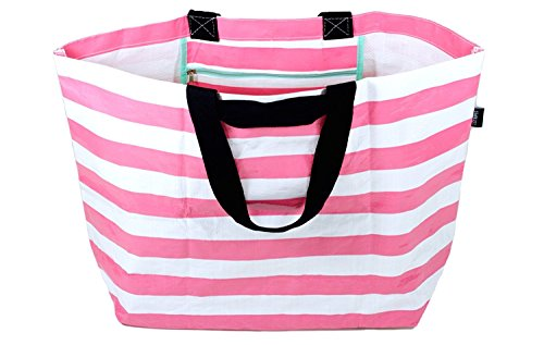 Stylish Beach Bag Pool Bag Lightweight Medium Carry-All Tote Bag Honeysuckle Pink Stripe