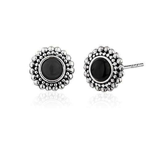 925 Sterling Silver Ball Beads Frame Round Black Onyx Gemstone Simple Stud Earrings Black Onyx Ball Bead