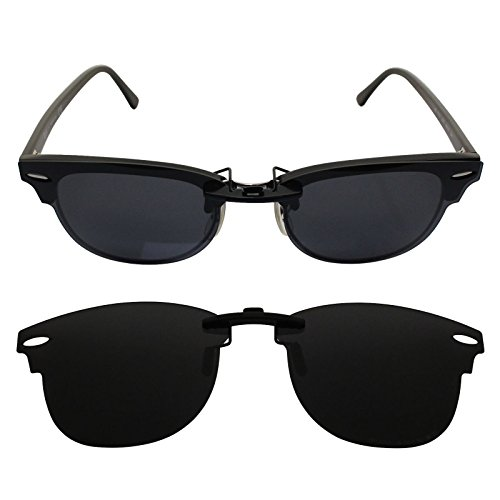 oGeee Custom Polarized CLIP-ON Sunglasses for Ray-Ban CLUBMASTER RB5154 49X21 5154 - Rb5154 Clubmaster