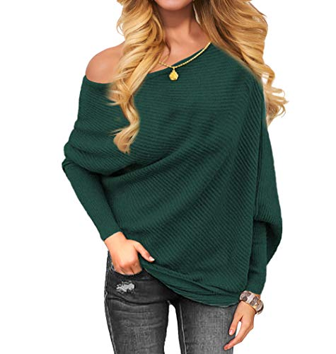 VOIANLIMO Women's Off Shoulder Knit Jumper Long Sleeve Pullover Baggy Solid Sweater (Large, Dark Green)