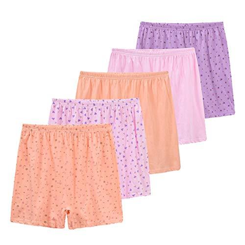 crazycatz Women Plus Size Cotton Boxer Panties Loose Comfy Underwear high Waist 5 Pack (5, XXXL) (Plus Size Womens Boxers)