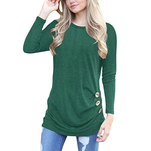Fheaven Women Loose Button Trim Side Blouse Solid Color Round Neck Long Sleeve Tunic T-Shirt (XL, Green)