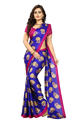 Jaanvi fashion Women's Peackock Printed Crepe Silk Kalamkari Printed Saree (Blue)