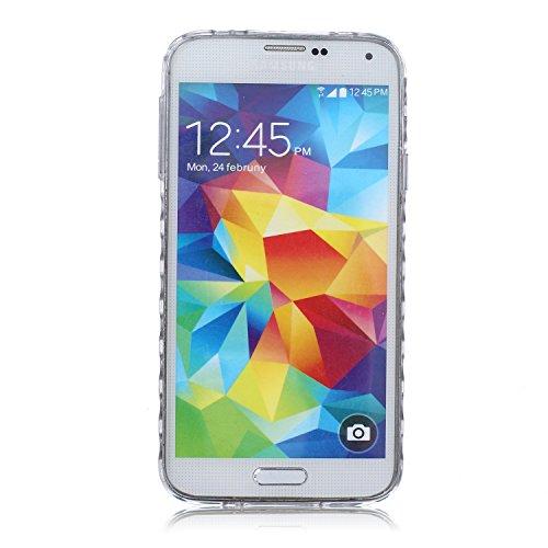 [Extremadamente Delgada] Funda 3D Silicona Transparent para Samsung Galaxy S5 ,Funda TPU Ultra Slim para Samsung Galaxy S5 , TOCASO Case Fina Slim Fit Cristal Clear, Transparent Slicona Clear Cover Gl Plumas de Aves