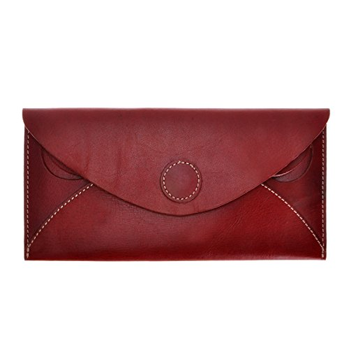 Tanned Leather Clutch (ZLYC Women Handmade Fashion Envelope Design Vegetable Tanned Leather Wallet Clutch, Red Brown)