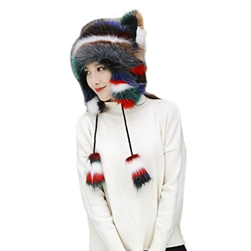 Women Cute Plush Fluffy Winter Hat Cartoon Animal Beanie Hat Skull Caps with Earflap Ladies Girls Outdoor Cycling Ski Snowboard Warm Full Hood Hats Halloween Party Cosplay Costume Head wear,Xmas Gift