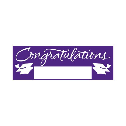 Creative Converting School Colors Paper Art Giant Fill-In Graduation Party Banner, 60 by 20-Inch, Purple (Keepsake Signature Plate)