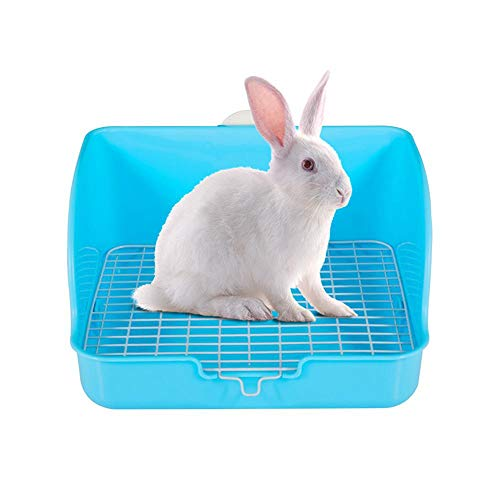 lesgos Rabbit Litter Box, Square Pet Potty Trainer Corner, 11 Inches Easy to Clean Animal Cage Toilet Pet Pan Bedding Box for Small Animal/Rabbit/Guinea