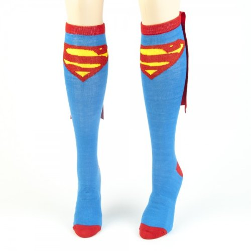 (Bioworld Superman Blue Adult Knee High Cape Sock, One)
