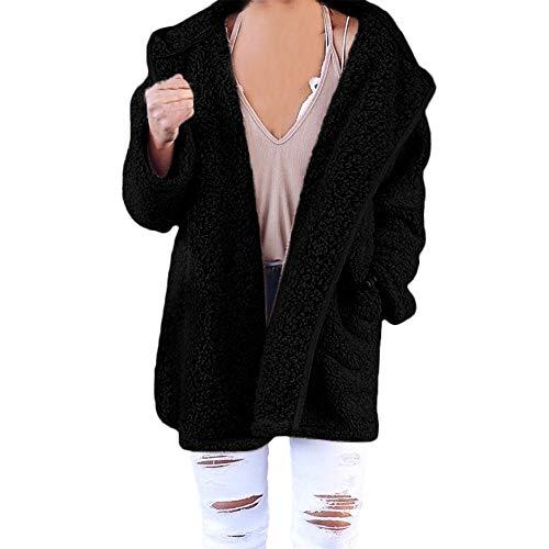 (XOWRTE Women's Soft Teddy Long Sleeve Hooded Jacket Coat Jumper with Pocket)
