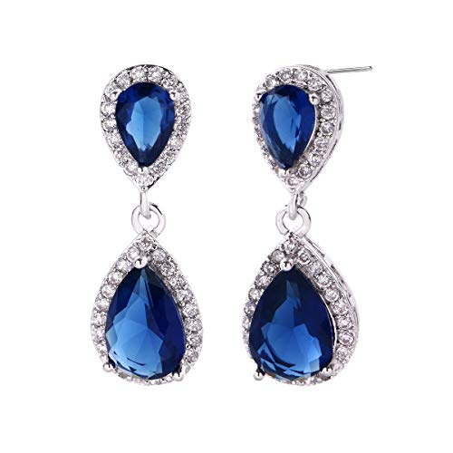 Blue Sapphire CZ Teardrop Dangle Earrings for Women Small 14K Plated Sterling Silver Halo Pear Shaped Crystal Cubic Zirconia Birthstone Bridal Drop Earring for Wedding Bride Bridesmaid Mother of ()