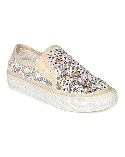 Liliana CK09 Women Floral Mesh Rhinestone Slip on Flat Sneaker - White