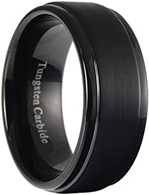 CoolMetals 7mm Tungsten Carbide Mens Brushed Stepped Edges Black Wedding Band Ring Size 7-15