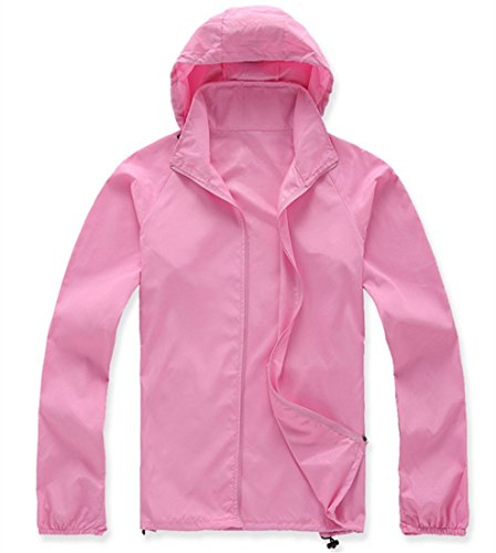 LANBAOSI Women's Lightweight Jacket UV Protect+Quick Dry Windproof Skin Coat Pink Size -