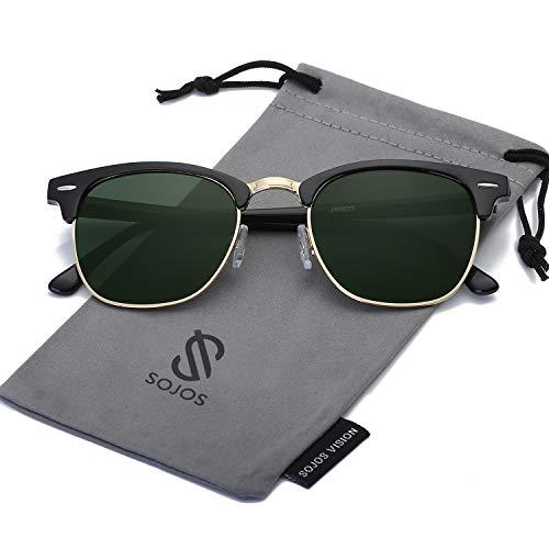 b609f9fc60f7 SOJOS Semi Rimless Polarized Sunglasses Half Horn Rimmed Glasses SJ5018  with Black Frame/G15 Polarized