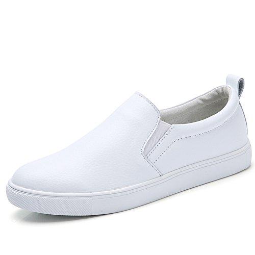 Noblespirit Kvinna Snedsteg På Dagdrivare Skor Läder Casual Mode Sneakers Vita
