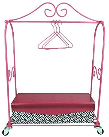 18 Inch Doll Furniture Rolling Rack, 3 Doll Hangers U0026 Storage Box, Perfect  For