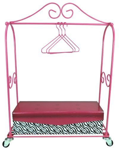 18 Inch Doll Furniture Rolling Rack, 3 Doll Hangers &