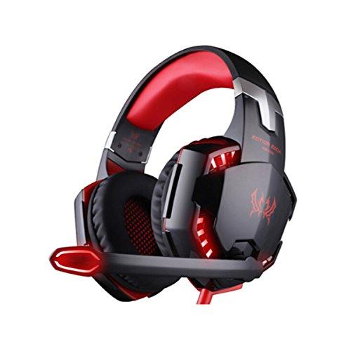 Kotion Each Fone de Ouvido G2000 Gamer Profissional Supra-Auricular LED Microfone Headset PS4 Xbox Notebook PC MAC Preto e Vermelho