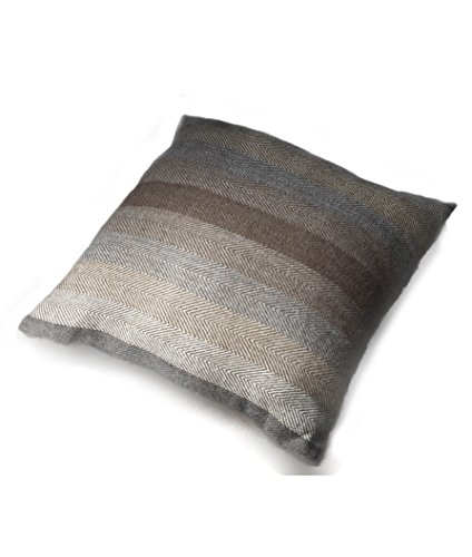 Decorative Handmade 100% Alpaca Wool Pillow Covers / Pillow Shams, Natural colours of Alpaca Browns and Grays, Zig Zag Pattern set into Stripes (Gray And Brown Pillows)