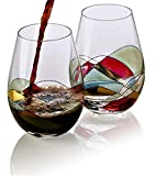 Bezrat Stemless Wine Glasses Set of Two | Hand Painted Large Premium Red and White Wine glasses | Lead-Free Crystal | Essential Wine Gift | 18 Ounces