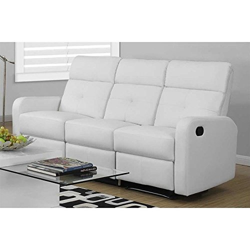 Monarch Specialties I 85WH-3 Reclining Sofa in White Bonded Leather  sc 1 st  Amazon.com & White Leather Recliner Sofas: Amazon.com islam-shia.org
