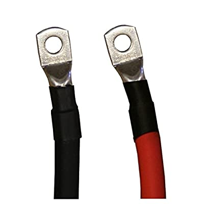 2 AWG Gauge Red + Black Pure Copper Battery Inverter Cables Solar, RV, Car, Boat 12 in 3/8 + 5/16 in Lugs
