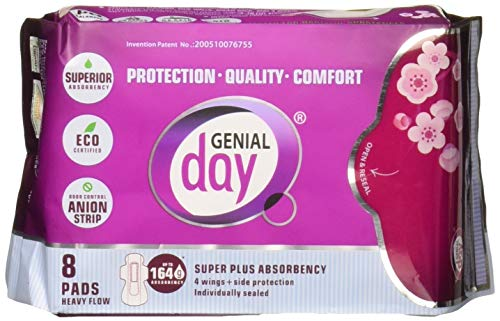 (GENIAL DAY Super Absorbent Heavy Flow Pads 8 Piece, 0.02 Pound)