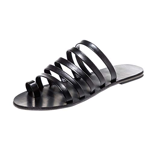 Womens Sandals for Women Huizhuangshigong Women's Ladies Spring Summer Flat Heel Strap Slippers Beach Sandals Roman Shoes